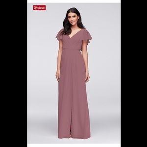 flutter sleeve crinkle chiffon bridesmaid dress